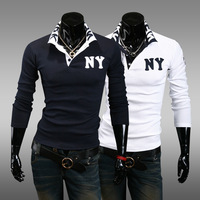 2014 Autumn Winter Men's Long Sleeve Turn Down Collar Basic T Shirt