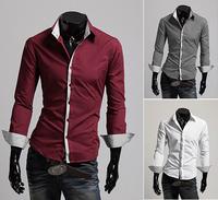 2014 Fashion Boutique Men Leisure Long Sleeve Shirt / Men's Casual Cotton lCross Line Slim Fit Dress Man Shirts CS509