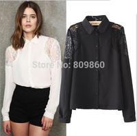 women Fashion temperament was thin lace stitching sleeve shirt free shipping