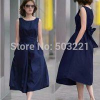 2014 summer fashion sleeveless belt full dress pure linen plus size clothing fluid loose one-piece dress