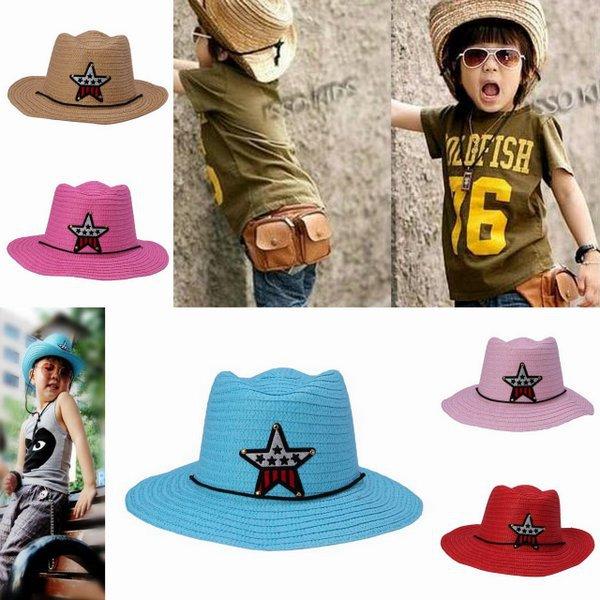 Casual Boys Girls Unisex Summer Beach Paper Straw Pentagram Large Brim Sun Hat Cowboy Cap(China (Mainland))