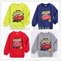 Retail Children autumn Long sleeves hoodie Cars cartoon cotton T-shirt kids outfits boys sweatshirt 4 colors 3-6T