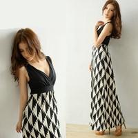 3036 houndstooth patchwork deep V-neck back cross cutout slim one-piece dress