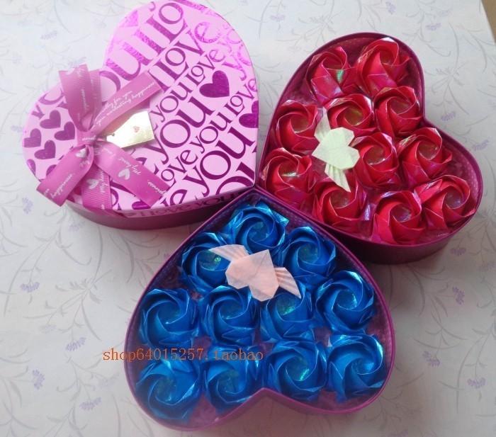 すべての折り紙 折り紙ハートボックス : Gift Rose Box Origami