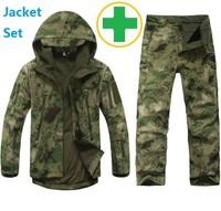 TAD Softshell Outdoors Hoodies Jacket Set Men 100% Waterproof Sport Hunting Clothing Set Military Jacket + Army Pants