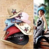 tz015 Free shopping wholesale1pcs10color Han edition children Baby Cowboy hat summer sunshade pentagram hemp straw hat/jazz cap