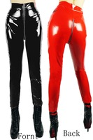 New Women Sexy Zipper  Fornt High Waist Shinny Four Way Stretch PVC Latex Look  Gothic Rock Legging Punk Fitness Woman Pants 202