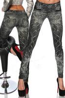 New Women Sexy Tattoo Jean Look Legging Sport Leggins Punk Fitness American Apparel Jeans Woman Pants 9055