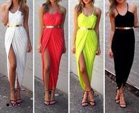 New Women Sexy Celebrity  Cotton Sleeveless  Long  Dress Bandage Midi Dress Beach Maxi Dress Without  Belt 4147