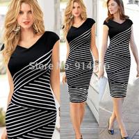 New 2014 Summer Plus Size Vestidos Sexy Women V-neck Sleeveless Stripe Long Bodycon Pencil Dress Evening Dress ,Free Shipping