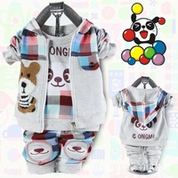 Baby Boys Plaid Style Hooded Coat Zipper Jacket Long Pants 2pcs Sets Free Shipping K0040