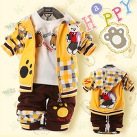 2014 Plaid Bags Winnie Printed Baby Boy Suit Children Clothing Zipper Style Hooded T Shirt Long Pants 3pcs Free Shipping K0033