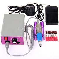 Pro New 30000 RPM Electric Acrylic Nail Art Drill Manicure Machine File Tools Set 6 Bits UK AU Plug Rose Color