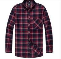 2014 Free Shipping Hot Sale Turn-down Collar Long Sleeve Shirt NavyAnd &Red 38/39/40/41/42/43/44