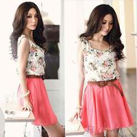New Women's Flower Pattern Sleeveless Chiffon Comfort Summer Mini Dress  06RZ