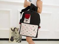 HOT! Fashion moustache flora printing women Backpack PU backpack Students School Bag Travel Bag shoulder bags