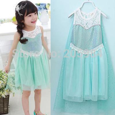 Paillette Lace Girl Dress Smock Princess Dresses Elsa Summer Gauze Cloak Dresses Cartoon Kids Sheer Cape Costumes(China (Mainland))