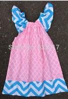 pink quattrefoil/ turquoise chevron baby girl dress
