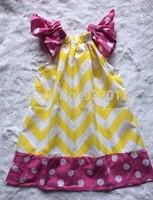 yellow chevron hot pik polka dot baby girl pillow  dress