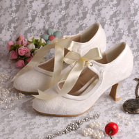 (More Colors) Custom Handmade Low Heel Ivory Bridal Shoes Lace Ribbon Euro Size 34~42 Free Shipping