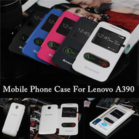 high quality original Lenovo A390 Flip PU leather case two window view Hard Back A390 Lenovo Cover Case phone bag Retail Package
