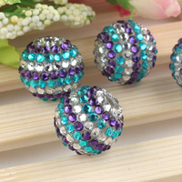 FROZEN Rhinestone Beads, 50pcs ELSA Chunky Beads, Blue, Aqua, and Silver, 22mm Resin Stripe Beads for Chunky Necklace DIY