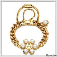 2014 Fashion Brand pearl Bracelets Bangles Women Gold Silver Chunky chain Bracelets Vintage Jewelry Top Quality