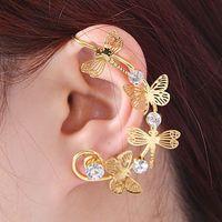 Fashion punk style women earrings alloy cuff earring dragonfly ear clip crystal earrings