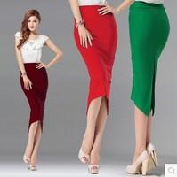 2014 New Arrival Autumn Winter Fashion Office  Skirt High Waist Asymmetrical Cotton Elastic Band Plus Size Women's Midi Skirts
