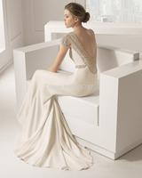 2015 New Model Senior Fancy Luxury Sheath White/Ivory Women Scoop Neck Short Sleeves Beads Backless Wedding Dress Bridal Gowns