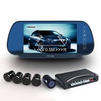 LCD 4 Sensors  7 Inch Buzzer LCD Parking Sensor Kit Display Car Reverse Backup Radar Monitor System 12V Blue Color LD-12