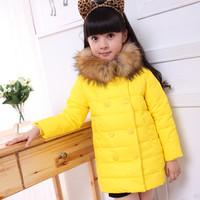 2014 autumn winter female child down coat medium-long children's clothing down jacket girls thickening coat