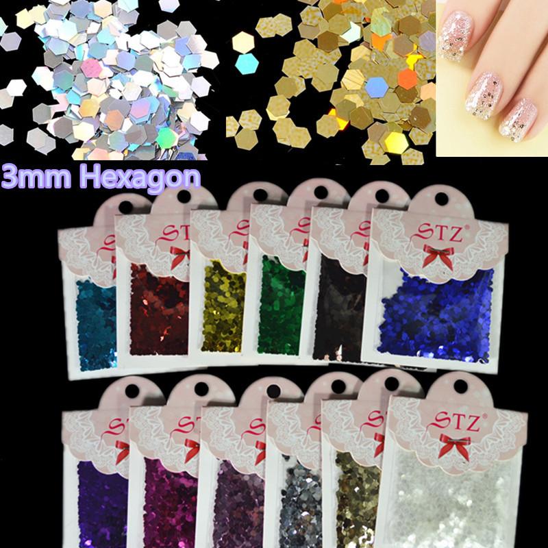 12 Colors Shiny Glitter Nail Art Tools Kit 3mm Hexagon Slice Paillette Decals Nail DIY Decorations Nail Polish Nail Tools NA121(China (Mainland))