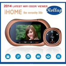 Wireless WIFI Door Viewer IR  Video Photo Motion Detection Intercom Doorbell Digital Peelhole Eye Door Camera Free Shipping(China (Mainland))