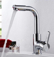 Cold and Hot Kitchen Faucet Bath Room Mixer Water Tap Brass Universal Rotary Faucet + 2 pcs Soft Inlet Hose
