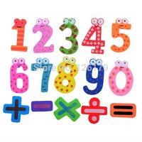 1set Xmas Gift Set 15pcs Wooden Fridge Magnet Education Learn Cute Kid Baby Toy Free Shipping