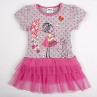 FREE SHIPPING H4573# 18m/6y Nova Kids wear girl's fashion beatutiful girl embroidery casual baby girls cotton dresses summer