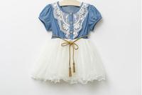 Hot Summer Children Clothing Korean Denim Colour Girl Dress With Belt Kids Gauze Dresses Baby Princess Dress Child Wear GX65