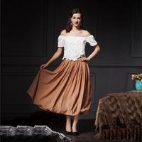 YIGELILA 512 Latest Women Bohemian Khaki Color High Waist Maxi Long Skirts Free Shipping