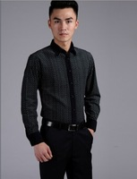 2014 Free Shipping Hot Sale Turn-down Collar Long Sleeve MenSmall Lattice Shirt Black 38/39/40/41/42/43