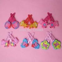 cute 6pairs/lot 12pcs kids hair clips Peppa Pig Dog Hairpins Hair Clip headwear baby children gift hairband girl accessories