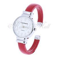 Women Quartz Movement Bracelet Wristwatch Wrist Watch Red Dial Fashion