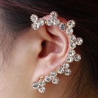 Fashion  women earrings Alloy cuff earring women ear clip crystal earrings .punk earring