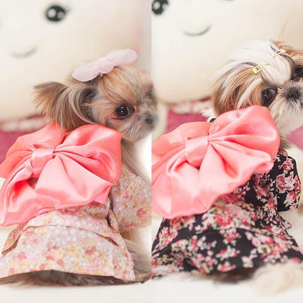 NEW Pet Clothing Dog Pet New Clothes Floral Japanese Kimono Bow Tie Shirt Costume Princess Dress Free&Drop Shipping(China (Mainland))