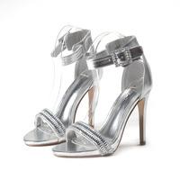 Fashion silver rhinestone 2014 open toe female shoes high thin heels button elastic strap sandals