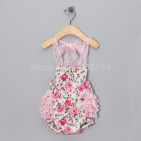 2014 Newest Pink Floral Lace Waistband Babes Bubble Boudysuit Halter Jumpsuit Infant Girl Free Shipping