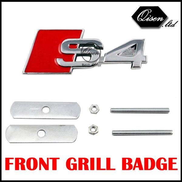 10 X S4 SPORT SLINE Metal 3D Car Front Hood Grill Badge Grille Emblem Logo stickers for A1 A3 A4 A5 A6 A7 A8 Q3 Q5 Q7 TT #SO090(China (Mainland))