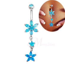 Dangle long Piercing body jewelry clear rhinestone belly button ring surgical steel 14G women sexy jewelry piercing navel bar