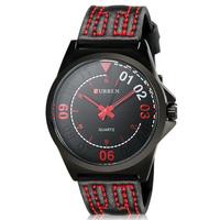 Curren Genuine Leather Strap Analog Display Fashion Design Red & Black Men Watch Brand Quartz Watch