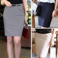 Summer Women Slim Hip Career Short Skirts Ladies Sexy High Waist Knee-Length Pencil Skirt 4 Colors Plus Size